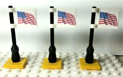 Souvenir Lego City Town Village 3 American Flags on 2x2 tile Custom Stickers