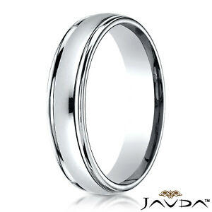 Pure 10k//14k White Gold CHOOSE YOUR WIDTH Comfort Fit Domed Plain Mens Womens Wedding Band