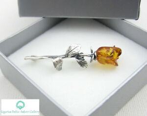 NATURAL-BALTIC-AMBER-STERLING-SILVER-925-BROOCH-ROSE-Hand-Craved-Certified
