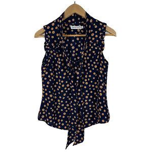 Sunny-Girl-Womens-Blouse-Size-8-Sleeveless-Blue-Orange-Polka-Dot-Good-Condition