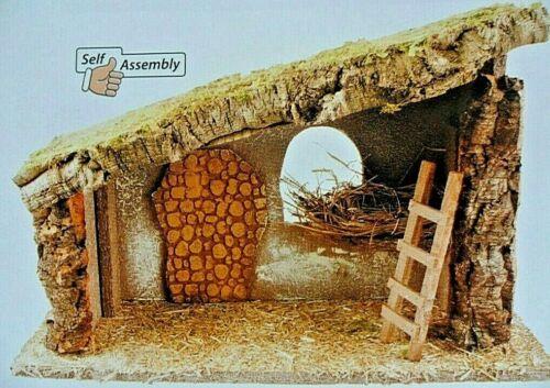 bark /& moss 48cm x 33cm x 24 cm Nativity Stable Crib Empty Self assembly wood