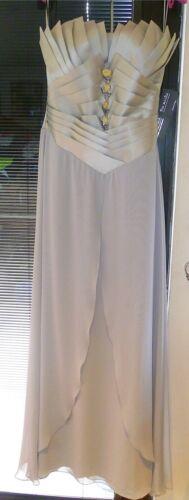 Michu in tulle splendido con senza spalline lunghe sera Pia da di abito maniche in argento Nuovo 10 xBqwZ08x