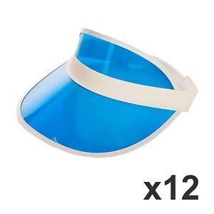 Pack Of 12 Blue Pub Golf Visor Hat Casino Poker Cap Stag Night Party ... dde145169597