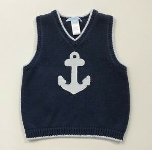 173fb3973f5d JANIE AND JACK Nautical Days Navy Blue Anchor Sweater Vest Size 18 ...