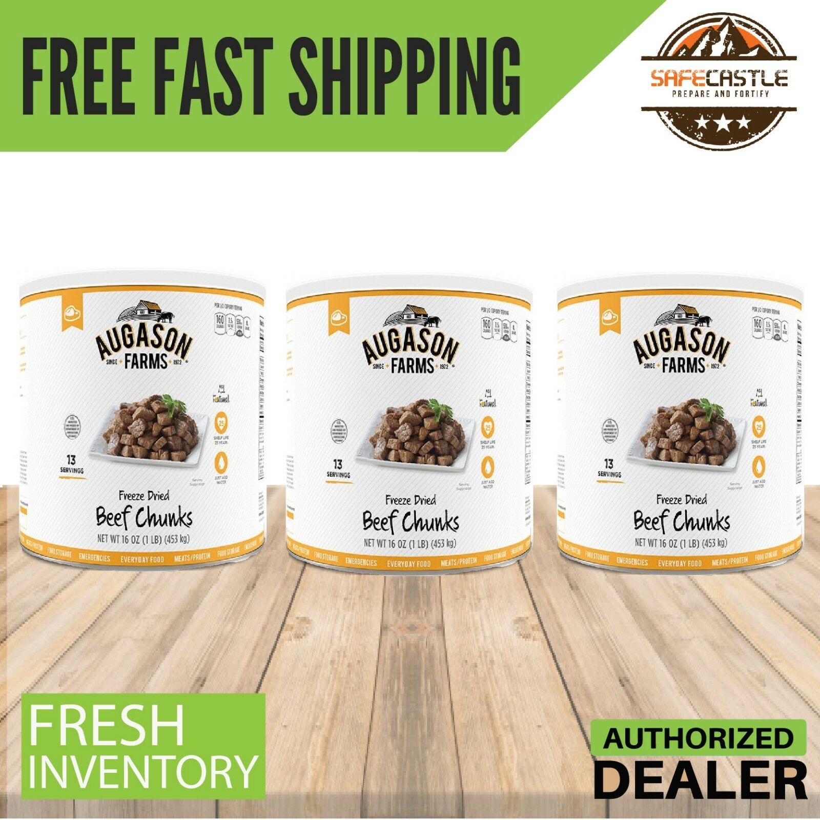 Augason Farms BEEF CHUNKS Freeze Dried Can (16oz) REAL MEAT    3 Cans