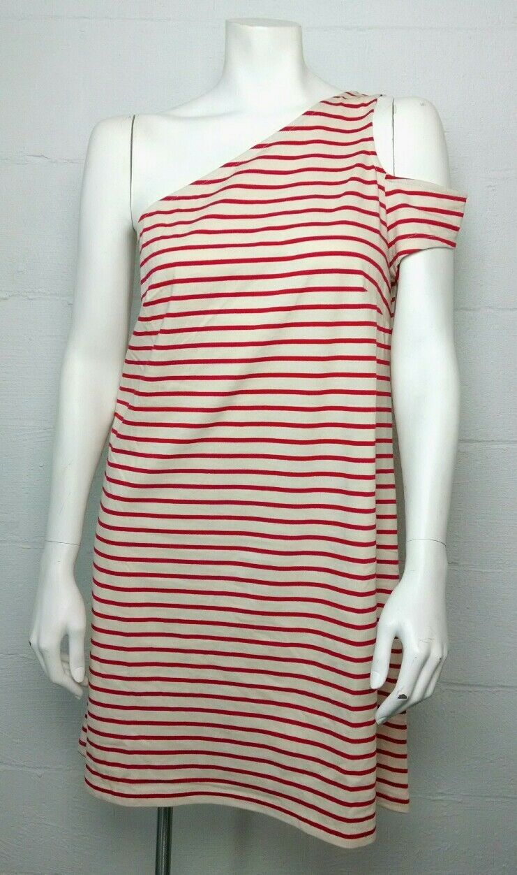 NWT Maeve Anthropologie Red Beige Striped Asymmetrical Sleeve Dress Size L