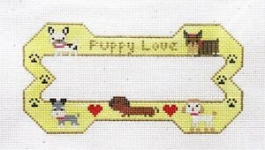 Danji-BP-Designs-Puppy-Love-Bone-Shape-Ornament-Handpainted-Needlepoint-Canvas