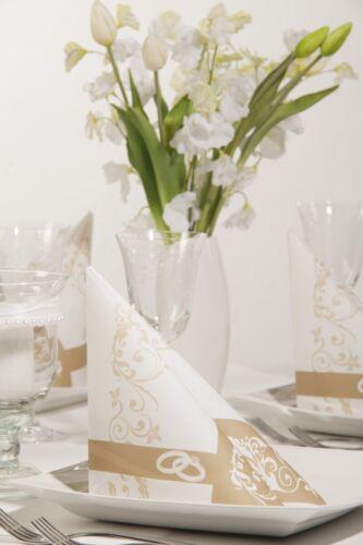 Serviette Hochzeit in Gold aus Tissue 33 x 33 cm 100 Stück