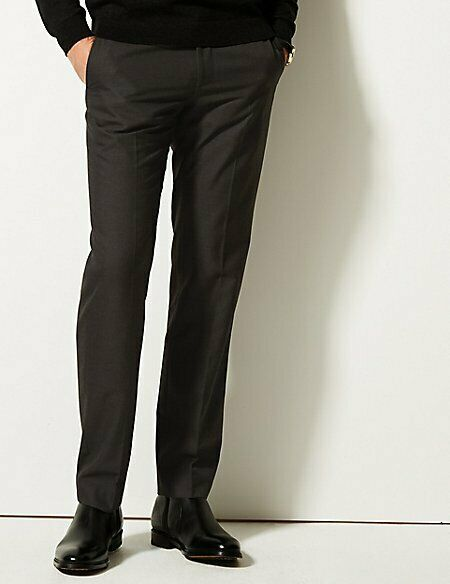 M&S COLLECTION Men's  Charcoal Tailored Fit Trousers NEW