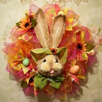 Handmade Spring / Easter Wreath Easter Bunny Spring Colors , Eggs,flowers
