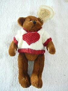 "TY Beanie ""Casanova""  Teddy Bear w/ knitted White & Red Heart Sweater, ERRORS"