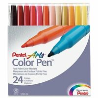 Pentel Color Pen Set, Set Of 24 Assorted Colors (s360-24) , New, Free Shipping on sale