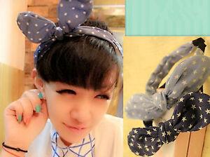 Women-Lady-Girls-Denim-Star-Dots-blue-Wire-Bunny-Bow-Party-Headband-Hair-band