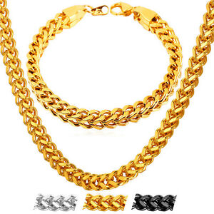 U7 18K Gold Plated 6MM Franco Chain Necklace Bracelet Cool Mens