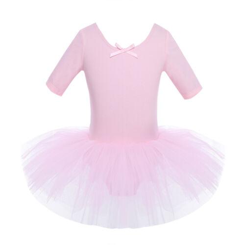 UK Kids Lyrical Dancewear Girls Ballet Sequins Leotard Tutu Dance Dress Costume