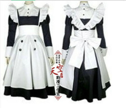 Black Butler Mey Rin Maid Cosplay Costume Outfit Cos Headdress Dress