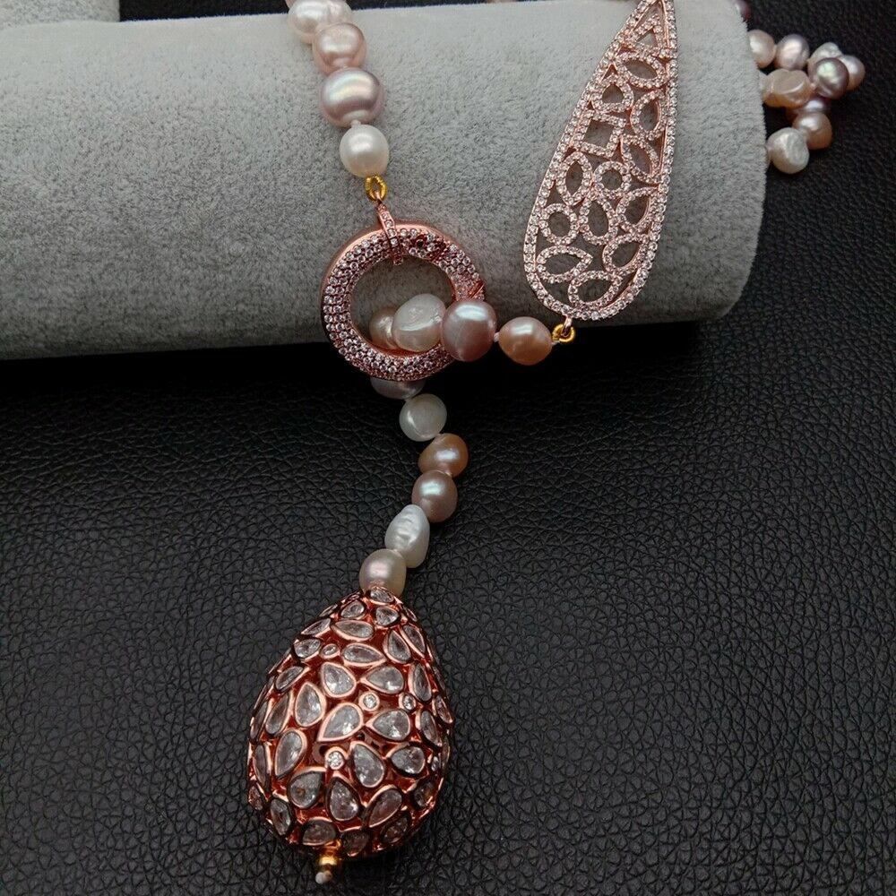 45 Multi Color Pearl Rose Gold Plated Connector Necklace Cz Teardrop Pendant Ebay