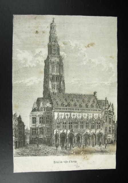 Hotel City D'Arras Print Engraving c1850 Felix Thorigny (1824-1870) Sc