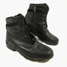 Women's Dr. Martens Black Pebbled 5 eye lace up & zip Leather Boots Sz 8