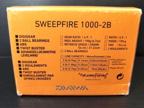 ABS Digigear NIB 1 pc Daiwa SweepFire 1000-2B Spinning Fishing reel 2BB