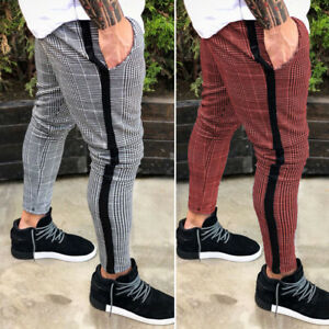 Mens-Chinos-Plaid-Trousers-Slim-Fit-Stretch-Flat-Front-Skinny-Leggings-Pants