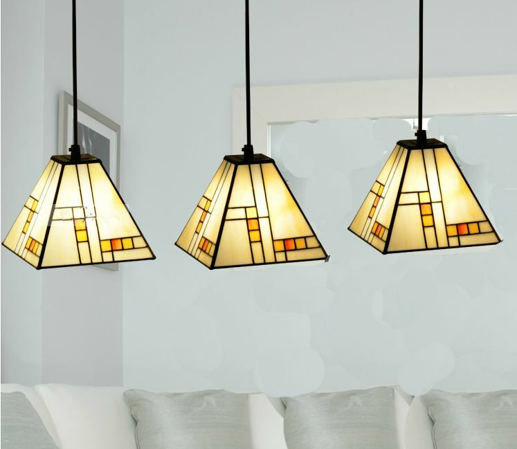 &Simple Rural 3Lights Farbeful Glass Colourot Glaze Iron Droplight Hanging Lamp