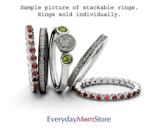 QSK523 Sterling Silver Stackable Ring White Topaz /& Diamond stones