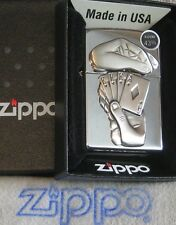 ZIPPO  FULL HOUSE Lighter PEWTER EMBLEM Hands & Cards  SURPRISE Mint In Box NEW