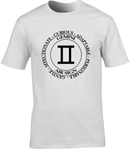 Gemini T-shirt homme Zodiac Astrologie Air Star Signe Stars Anniversaire Idée Cadeau
