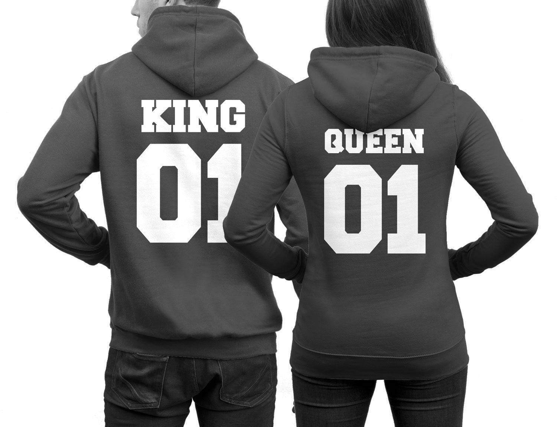 2 Pärchenpullis KING 01 für Ihn QUEEN 01 für Sie Hoodies für Paare in Dunkelgrau