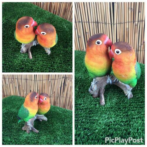 Pair of Lovebirds on branch by Vivid Arts indoor or outdoor ornament