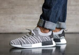 6e2468109c9a Adidas New NMD R1 STLT PK Primeknit Boost Grey Core Black White Men ...