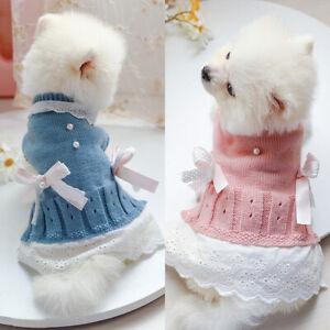 2pcs Pet Cat Dog Knited Sweater Small Dog Jumper Winter Warm Puppy Apparel Dress
