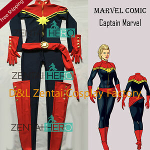 Ms Captain Marvel Superhero Costume Cosplay Halloween Zentai Suit For Adult Kid Ebay 'identifiable fictional character + nsfw' passes here. ebay