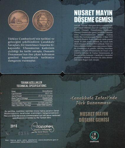 TURKEY 2015 TURKISH NAVY IN DARDANELLES VICTORY COMM BRONZE COIN 5 PCS SET UNC