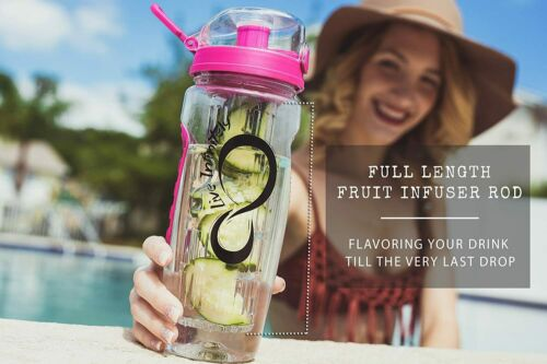 Live Infinitely 32 oz Fruit Infuser Water Bottles with Time Marker Insulation