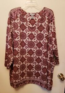 746dacb560a7d WOMENS PLUS SIZE 5X 34 36 TOP 3 4 SLEEVES NWT CATHERINES TUNIC