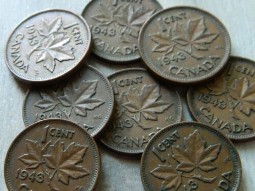 1943 WWII Era Canadian One Cent Coin George VI 1 Coin Lot # 1204 -