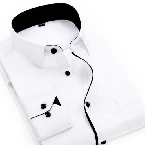 UK Luxury Men/'s Long Sleeve Shirt Button Up Business Work Smart Formal Dress Top