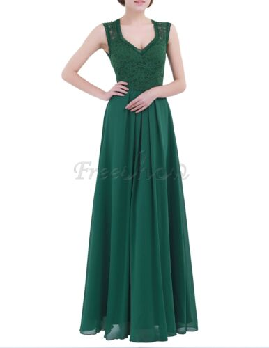 Fashion Lady Lace Chiffon Tulle Bridesmaid Dress Wedding Evening Prom Long Gown