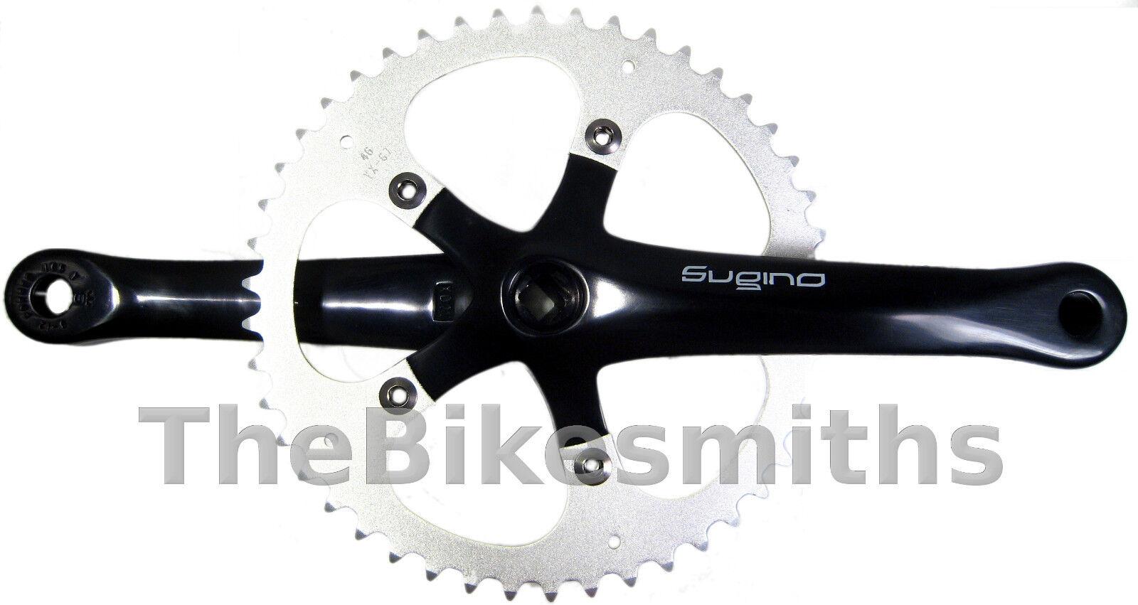 Sugino XD 165MM Negro de pista Bielas Bicicleta fija de engranaje hecha en Japón
