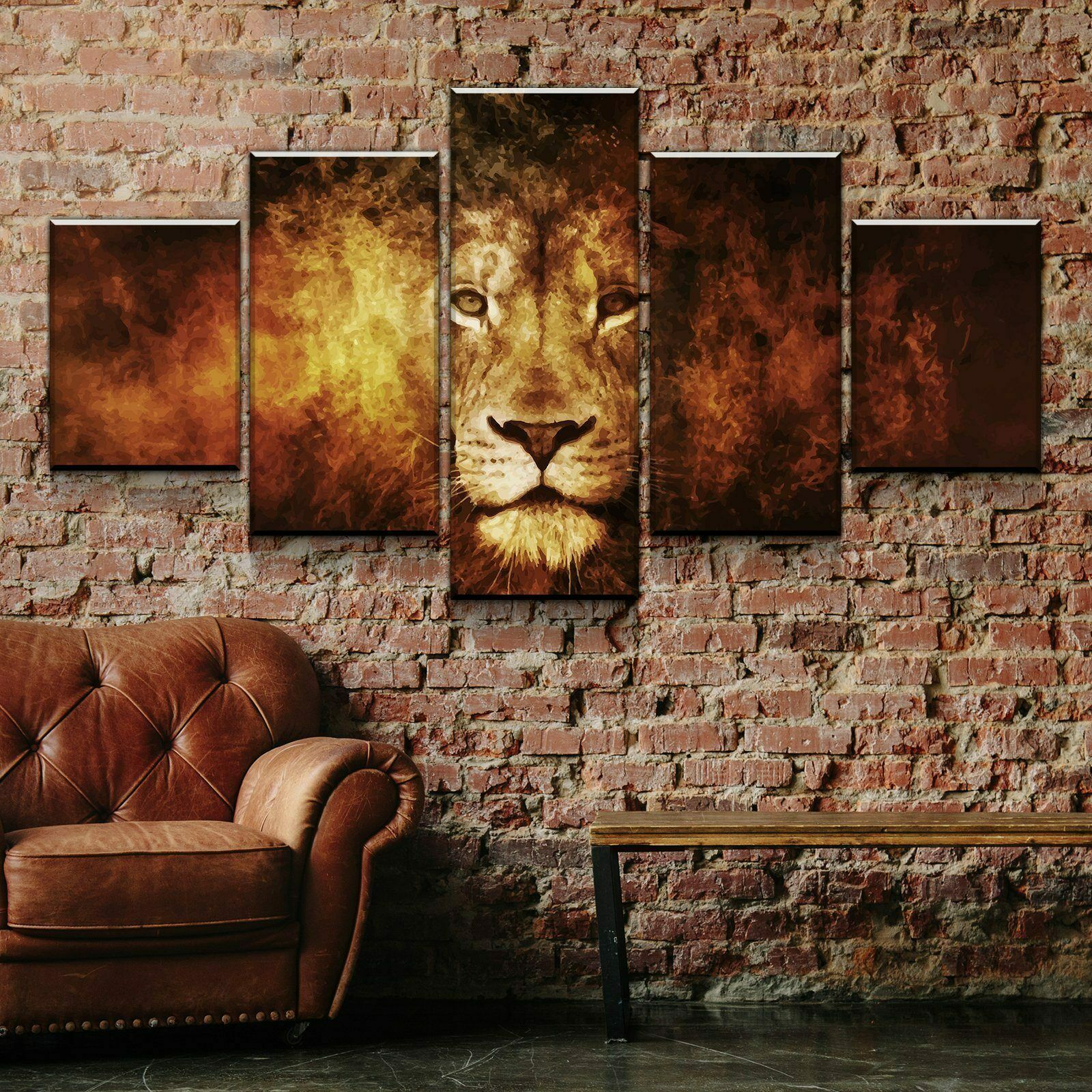 Abstract Lion Head 5 Pieces Canvas Wand Kunst Poster Drucken Home Decor