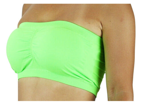 PADDED REMOVABLE TUBE TOP BANDEAU Basic Strapless Layering Colorful  *ONE SIZE*