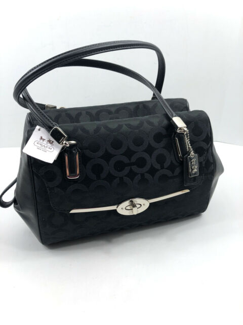 Coach 25638 Madison Op Art Satin Black Signature Print Satchel Shoulder Bag NWT