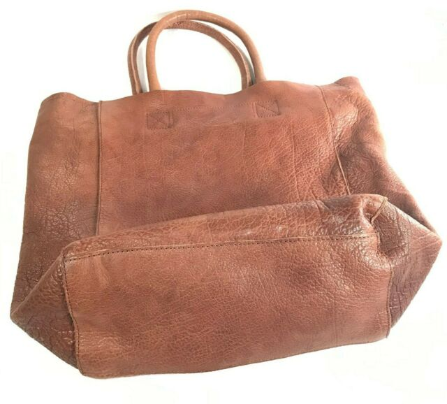 Rustic Brown Leather Oversized Tote  BDG Buffalo Leather