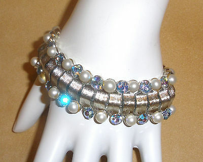 1950's Coro Silver Plate Textured Link Bracelet w/ Pearl Beads & Blue Chatons