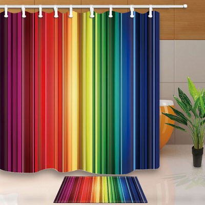 Rainbow Color Changing Blurred Shower Curtain Waterproof Fabric with 12 Hooks