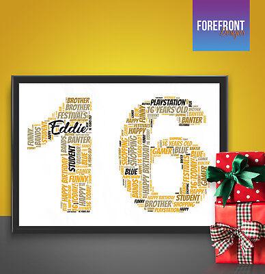 Birthday Birthday anniversary personalised Word Art gift  A4 Print