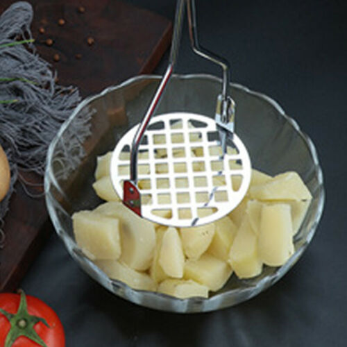 Potato Vegetable Masher Heavy Duty Kitchen Stainless Steel Metal Black Handle