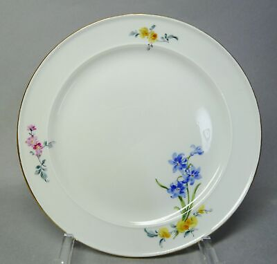 (g4783) Meissen Teller, Bunte Blumenmalerei , Goldrand, D = 18 Cm Elegant Und Anmutig